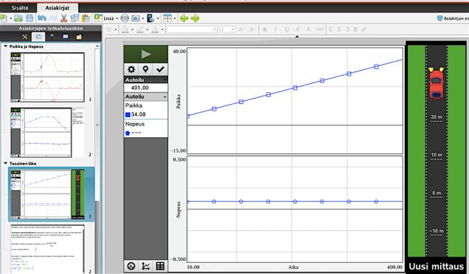 Kuva 1. Samassa näytössä on liikkeen tarkastelua liikeanturin avulla, simulaation avulla itse kokeiltuna, ideaalisen tasaisen liikkeen havainnollistuksen avulla (simulaatio), muistiinpanoja ja esimerkkilaskuja, jossa yksikkötarkastelut mukana.