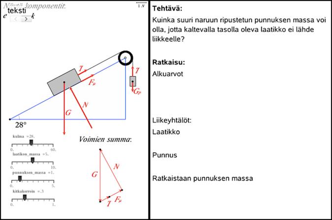 Kuva 2. Esimerkki koetehtävästä, jossa vastataan simulaation avulla kokeilemalla ja tutkimalla samassa näkymässä olevaan vastauspohjaan.